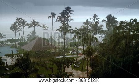 Photo Of Heavy Rain And Strong Wind During Typhoon At Hotel Resort On Tropical Island In Indian Ocea