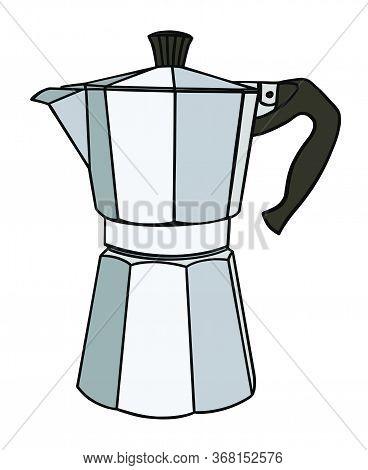Italian Coffee Maker Or Moka Pot, Metal Espresso Machine, Mocha Express. Hand Drawn Vector Illustrat