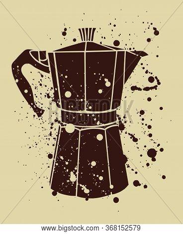 Italian Coffee Maker Or Moka Pot, Espresso Machine, Mocha Express. Hand Drawn Vintage Splatter Vecto