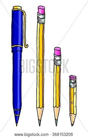 Stationery Set Hand Drawn Vector Doodle Illustration. Graphite Pencils And A Ballpoint Pen Isolated