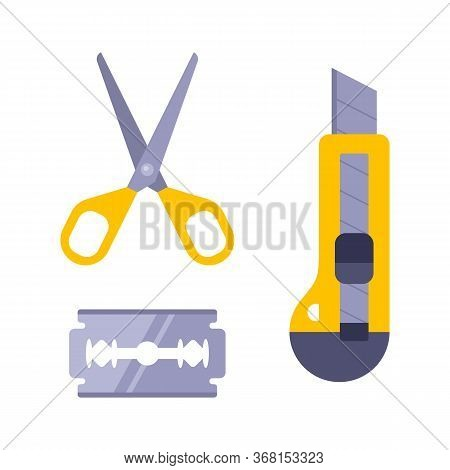 Paper Cutting Kit. Stationery Knife, Blade And Scissors. Children Needlework. Flat Vector Illustrati