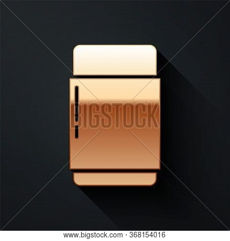 Gold Eraser Or Rubber Icon Isolated On Black Background. Long Shadow Style. Vector.