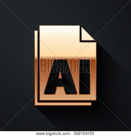 Gold Ai File Document. Download Ai Button Icon Isolated On Black Background. Ai File Symbol. Long Sh