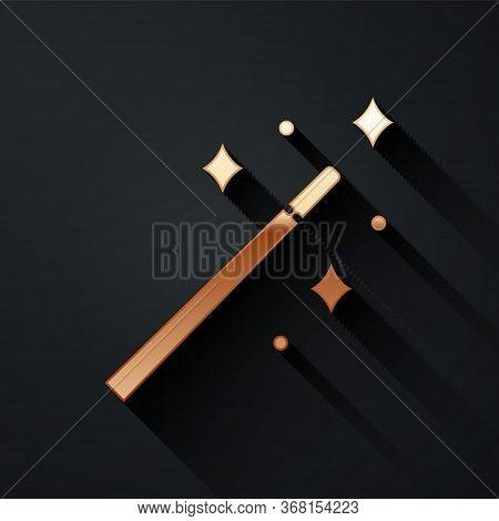 Gold Magic Wand Icon Isolated On Black Background. Star Shape Magic Accessory. Magical Power. Long S