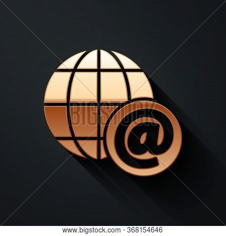 Gold Earth Globe With Mail And E-mail Icon Isolated On Black Background. Envelope Symbol E-mail. Ema