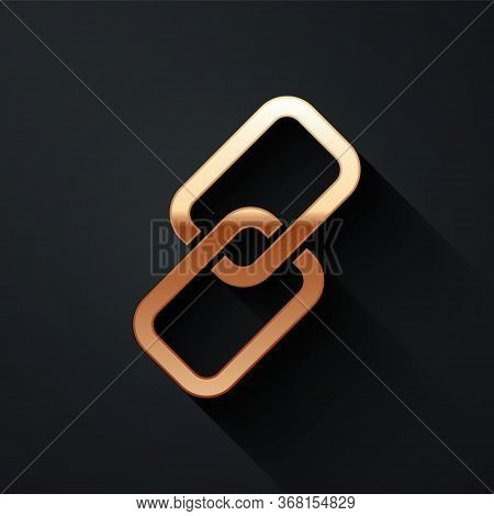 Gold Chain Link Icon Isolated On Black Background. Link Single. Long Shadow Style. Vector.
