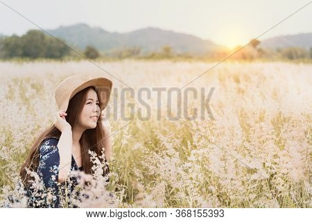 Summer Portrait Of Young Hipster Woman Sitting In Meadow On Sunny Day.young Slim Beautiful Woman, Bo
