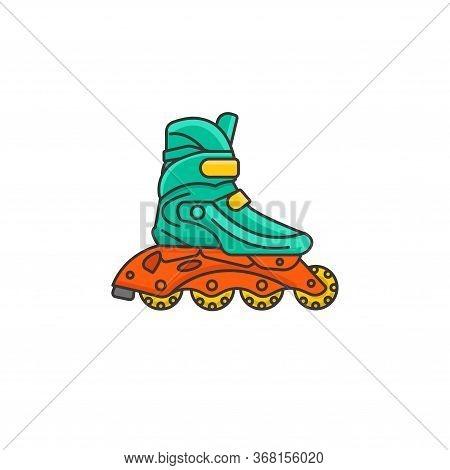 Roller Skates Color Illustration. Rollers With Plastic Wheels