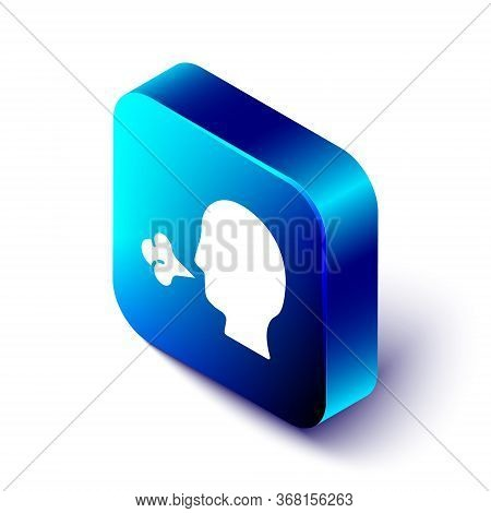 Isometric Man Coughing Icon Isolated On White Background. Viral Infection, Influenza, Flu, Cold Symp