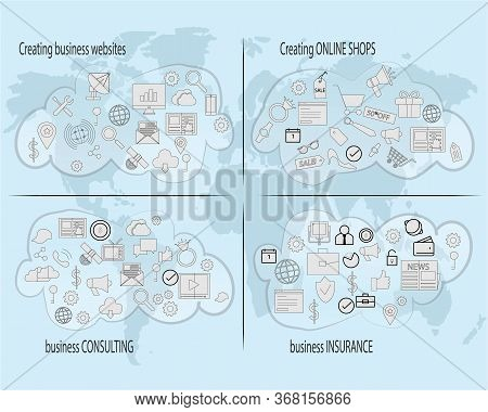 Set Of Icons For Creating Businness Online And Get Your Website Or Online Shope Worldwide Growth And