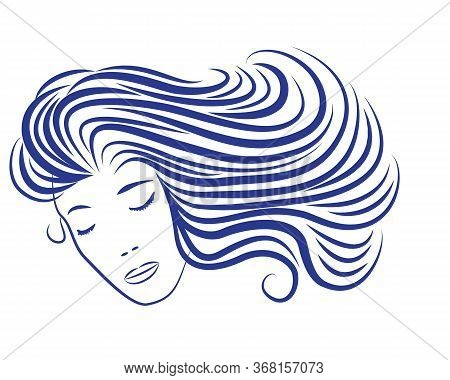 Cartoon Woman Silhouette With Blue Hair Looking Like Sea Waves. Cartoon Sea Wave Vector Illustration