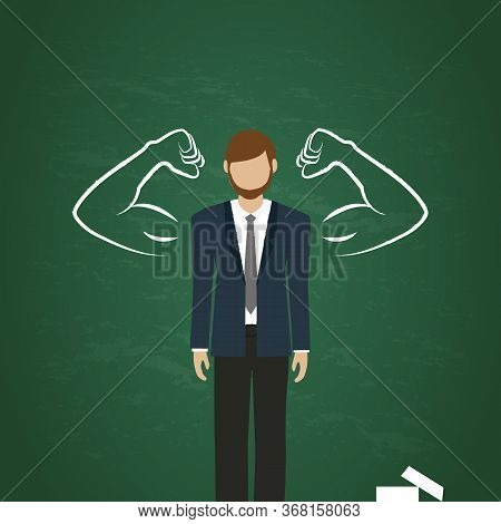 Business Man With Drawn Muscular Arms On Blackboard Background Vector Illustration Eps10