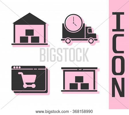 Set Warehouse, Warehouse, Online Shopping On Screen And Logistics Delivery Truck And Clock Icon. Vec