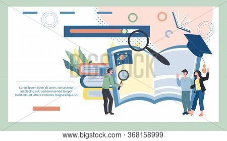 Online Learning And Elearning Banner With Tiny People And Books. T