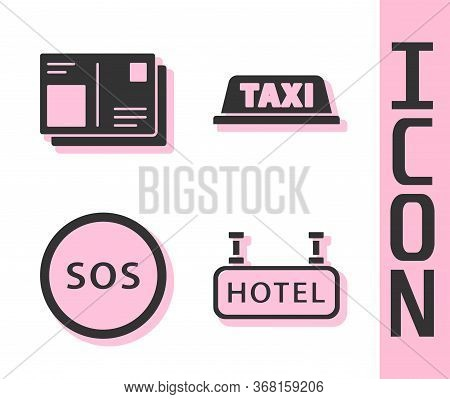 Set Signboard With Text Hotel, Passport With Visa Stamp, Location With Sos And Taxi Car Roof Icon. V