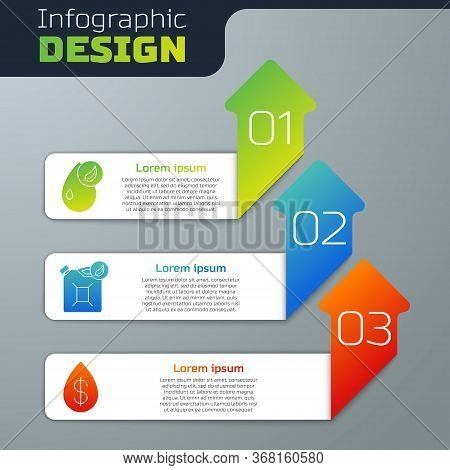 Set Bio Fuel, Bio Fuel Canister And Oil Drop With Dollar. Business Infographic Template. Vector.