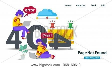 Banner, Oops 404 Error Page Not Found, Internet Connection Problems, Two Girls Sitting With Laptops