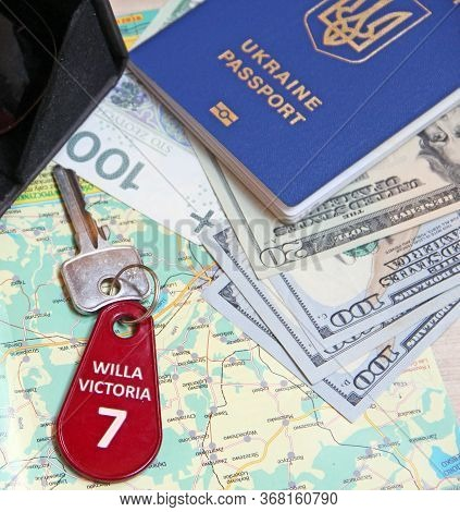 Money Passport And Villa Keys. Travel Concept. Things Collected For Travel. Everything You Need For