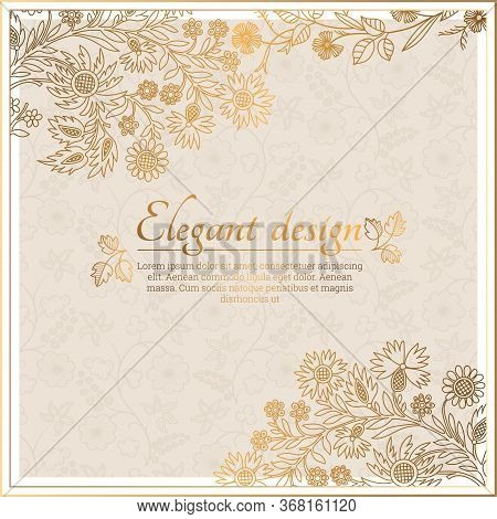 Baroque Ornate Frame With Place For Text. Stylish Invitation Card. Elegant Greeting Card. Vector Ele