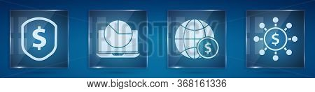 Set Shield With Dollar, Laptop With Graph Chart, Earth Globe With Dollar And Dollar, Share, Network.