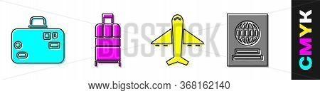 Set Suitcase, Suitcase, Plane And Passport Icon. Vector.