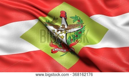 3D illustration of the Brazilian state flag of Santa Catarina waving in the wind.