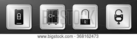 Set Mobile With Closed Padlock, Safe, Open Padlock And Lock And Key Icon. Silver Square Button. Vect