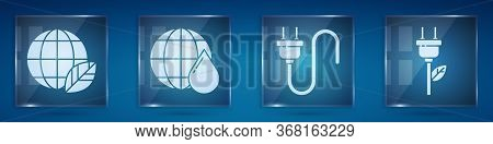 Set Earth Globe And Leaf, Earth Planet In Water Drop, Electric Plug And Electric Saving Plug In Leaf