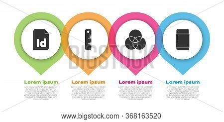 Set Id File Document, Ruler, Rgb And Cmyk Color Mixing And Eraser Or Rubber. Business Infographic Te