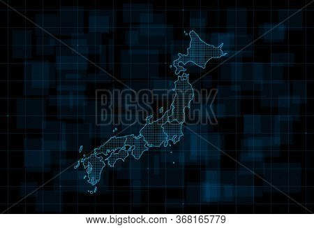 Hud Map Of The Japan With Prefectures. Cyberpunk Futuristic Digital Dark Blue Background. Editable S