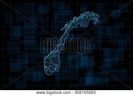 Hud Map Of The Norway With Counties. Cyberpunk Futuristic Digital Dark Blue Background. Editable Str
