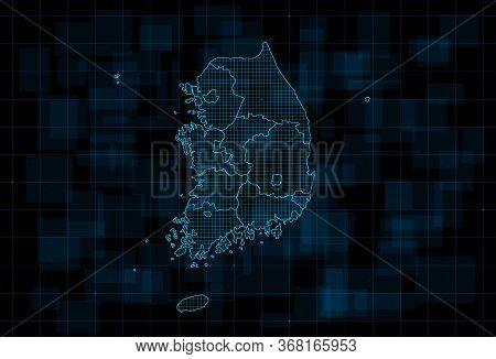 Hud Map Of The South Korea With Provinces. Cyberpunk Futuristic Digital Dark Blue Background. Editab
