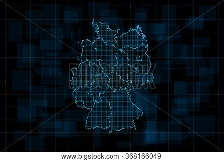 Hud Map Of The Germany With States. Cyberpunk Futuristic Digital Dark Blue Background. Editable Stro