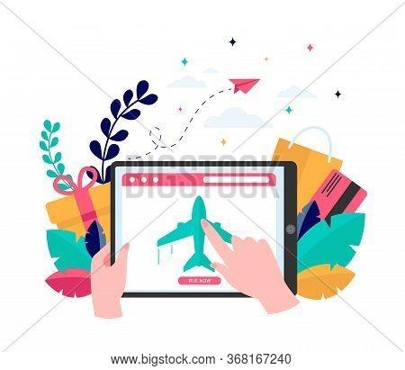 Customer Buying Plane Tickets Online. Traveling, Screen, Flight Flat Vector Illustration. E-commerce