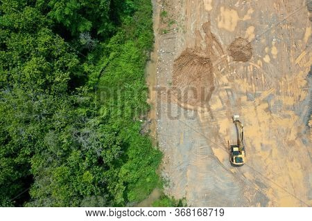 Deforestation of rainforest for mining, industry and agriculture. Sumatra, Indonesia