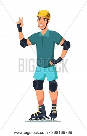Roller Skater Flat Vector Illustration. Young Man Wearing Protective Gear, Helmet And Kneepads. Extr