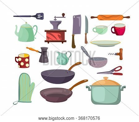 Kitchen Utensils And Tools Flat Icon Set. Cartoon Cups, Saucepans, Pots, Cutlery And Teapot Isolated