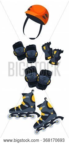 Roller Protection Flat Vector Illustration. Roller Skating And Derby Protective Equipment Isolated O