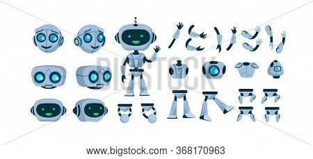 Futuristic Robot Constructor Flat Icon Set. Cartoon Android Character Design Isolated Vector Illustr