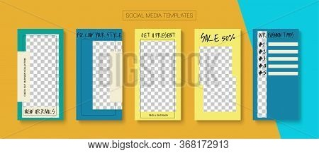 Social Stories Cool Vector Layout. Online Shop Polygon Graphic Apps. Blogger Trendy Design, Social M
