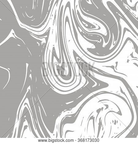 Gray Marble Texture, Vector Square Ink Wash Background. Fluid Paint Suminagashi Modern Pattern For I