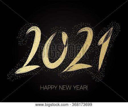 2021 Gold Brushstroke Banner. Happy New Year Elegant Business Background. Stylish Happy New Year Typ
