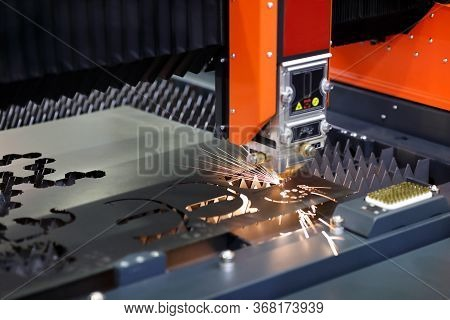 Plate Fiber Laser Cutting Machine Close Up. Selective Focus.