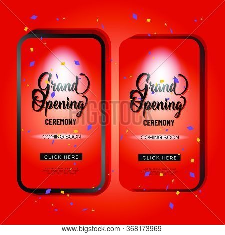 Red Grand Opening Mobile Promotion Template Design For Advertizing And Marketing