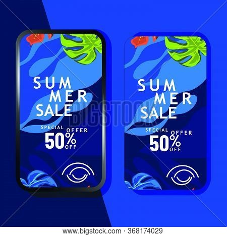 Summer Sale Mobile Promotion Template Design For Advertizing And Marketing