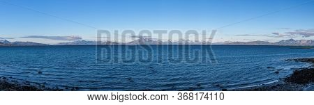 Panoramic View Of End Of Fjord. Beautiful Norwegian Landscape. View Of The Fjords With Turquoise Wat