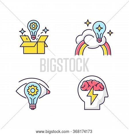 Creative Mindset Rgb Color Icons Set. Imagination Of Creative Artist. New Vision, Innovative Insight