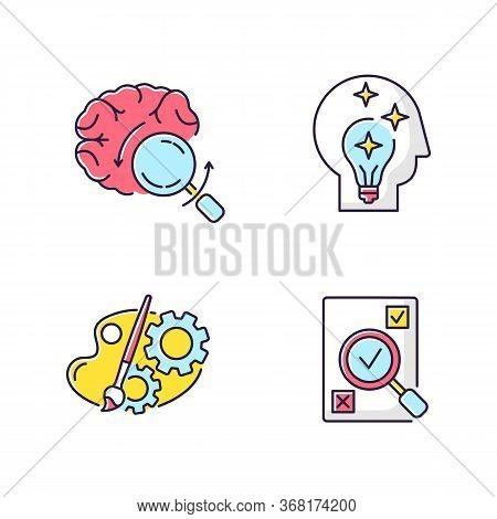 Logical Mind Rgb Color Icons Set. Brainstorming For Project. Idea Generation. Analytical Mindset. Fr
