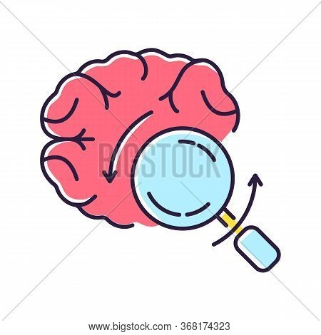 Briefing Rgb Color Icon. Analytical Brain. Investigate For Smart Solution. Knowledge And Intelligenc