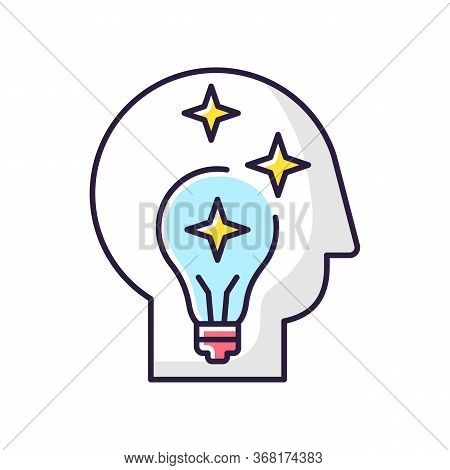 Idea Generation Rgb Color Icon. Insight While Brainstorming. Human Head With Innovative Thought. Ima